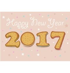 Happy new year 2017 sweet cookies font vector