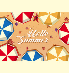 hello summer with umbrellas and shells on beach vector image