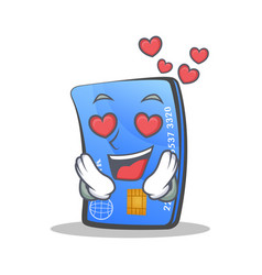 In love credit card character cartoon vector