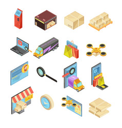 Internet store isometric set vector