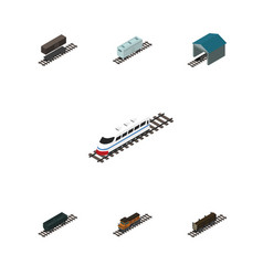 Isometric railway set of railroad carriage vector