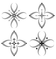 Laurel wreath tattoo set cross stylized ornaments vector