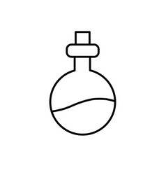 Line erlenmeyer flak with chemical potion vector