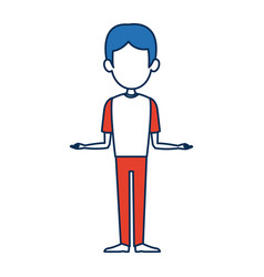man character standing bluehair and orange clothes vector image