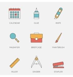 Office tools color line icons vol 3 vector image vector image