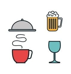 restaurant menu set icons vector image