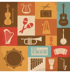 Retro musical instruments icons vector