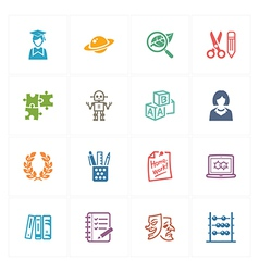 School and Education Icons Set 5 - Colored Series vector image vector image