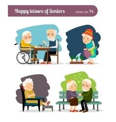 Seniors happy leisure vector image