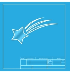 Shooting star sign white section of icon on vector
