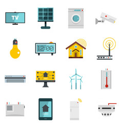 Smart home house icons set in flat style vector