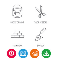 Spatula scissors and bucket of paint icons vector