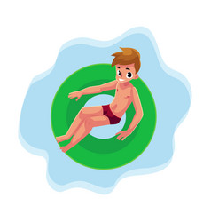 Teenage boy teenager swimming on floating vector