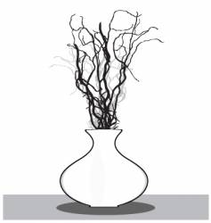 vase with twigs vector image vector image