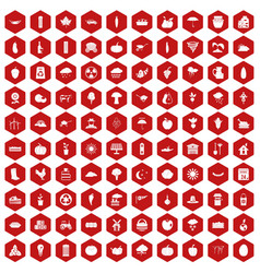 100 pumpkin icons hexagon red vector