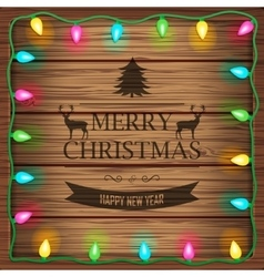 Wooden background with christmas lights and vector