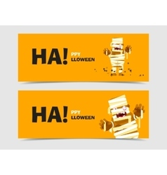 Banner set with halloween characters vector