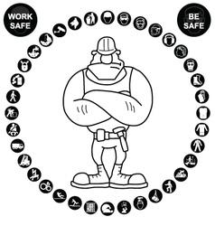 Black circular health and safety icon collection vector