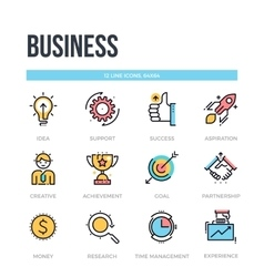 Business icons thin line pictograms vector
