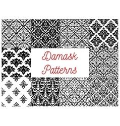 Damask seamless patterns of victorian flourishes vector