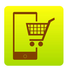 Shopping on smart phone sign brown icon vector