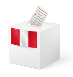 Ballot box with voting paper peru vector