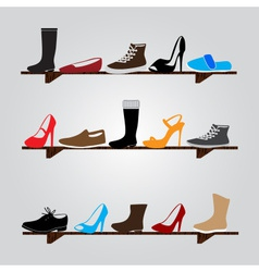 Color boots on shelf eps10 vector