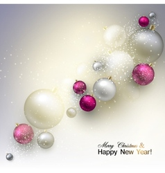 Christmas background with balls colorful xmas vector