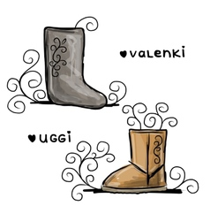 Felt boots and uggi sketch for your design vector image