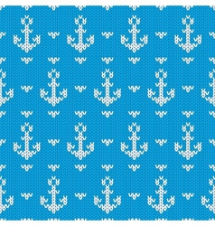 Seamless knitted pattern with anchors vector
