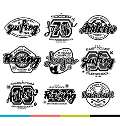 Set of sport badges graphic design for t shirt vector
