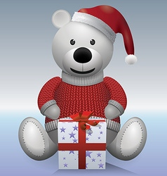 Teddy bear white in red sweater and red hat with vector image