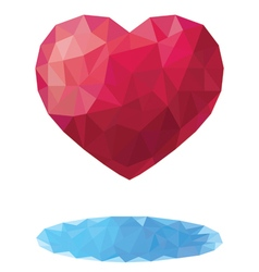 Heart in the style of a triangular low poly vector
