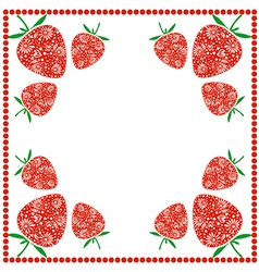 Card with berries ornamental strawberries vector
