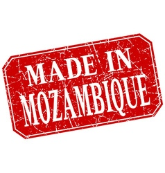 Made in mozambique red square grunge stamp vector