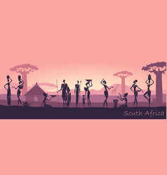 african men and women against the landscape of vector image vector image
