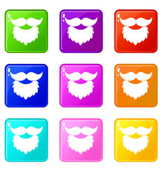 Beard and mustache icons 9 set vector