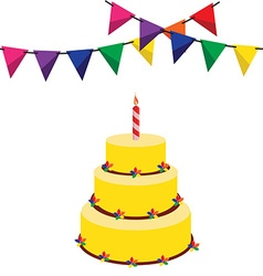 Birthday cake and garland vector