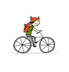 boy rides a bike sketch for your design vector image vector image