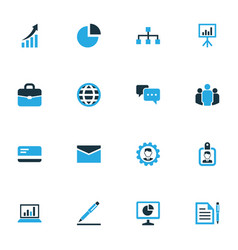 business colorful icons set collection of badge vector image vector image