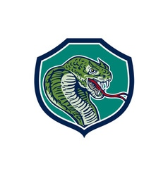 Cobra viper snake shield retro vector