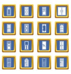 door icons set blue vector image vector image