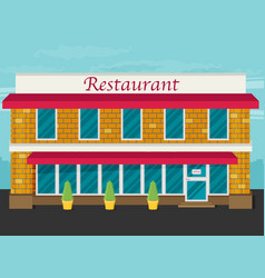 Facade of restaurant flat vector