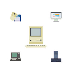 Flat icon computer set of processor technology vector