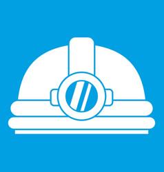 Helmet with light icon white vector