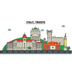 italy trieste city skyline architecture vector image