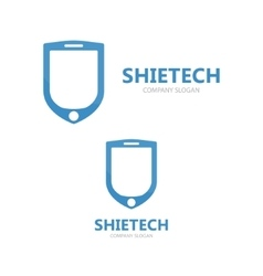 Logo combination of a shield and phone vector