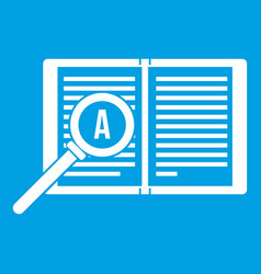 Magnifying glass over open book icon white vector