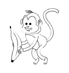 Monkey playing with big banana cartoon icon image vector