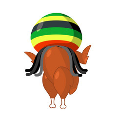 rasta turkey reggae takes and roasted fowl food vector image vector image